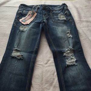 Amethyst boot cut distressed jeans size 7 with tag
